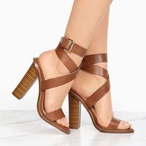 3c244ebaefe Liliana Shoes - Cognac Criss-Cross Strappy Block Heels